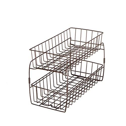 Smart Design 2-stöckige stapelbare ausziehbare Körbe - stabiles Drahtgestell Design - rostbeständiger Vinylmantel - für Pantys, Arbeitsplatten, Badezimmer - Küche (45,7 x 30 cm) Bronze -