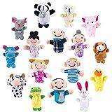 Comius Burattini a Dito, 16 PCS Marionette da Dito, Dito Burattini Animali Persone Famiglia Membri Didattica Giocattolo