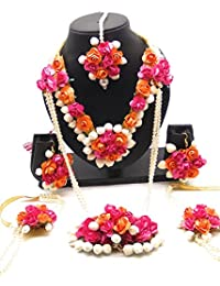 ORANGE/PEACH COLORE ROSE AND PINK COLORS ROSE AND WHITE COLOR JASMINE / MOGRA FLOWERS ENRICH MANGTIKKA , 1 PAIR...