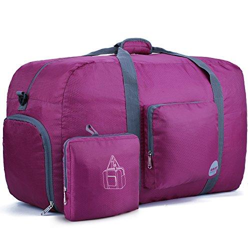 WANDF Faltbare Reisetasche Duffel-Bag oder Fitnesstasche für Koffer, Reise, Sportausrüstung usw. Super leichtgewichtig wasserresistent Nylon (90L, Fuchsie)