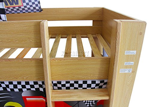 FoxHunter Childrens Wooden MDF Mid Sleeper Cabin Bunk Bed Kids Tent Single 3FT F1 Pine Frame No Mattress New