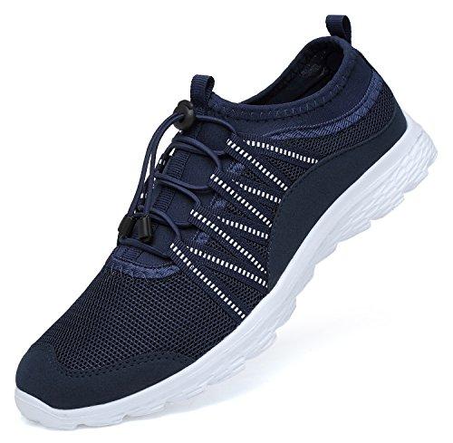 Rtiriko Damen Sportschuhe - Laufschuhe Bequem Atmungsaktives Turnschuhe Sneakers Gym Fitness Blau Weiß EU41