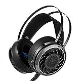 AOVOI Spiel Kopfhörer, Kopf Tragen Anti-Lärm Licht emittierende Stereo-HiFi Computer Elektro Wettbewerbs Kopfhörer für PS4 Xbox One PC-Mikrofon (Schwarz)