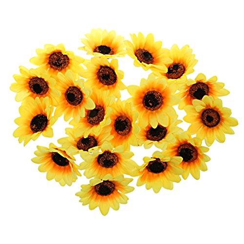 MagiDeal 30pcs 8cm Kunstseide Blume Sonnenblume Köpfe Haus Hochzeit Dekor Orange