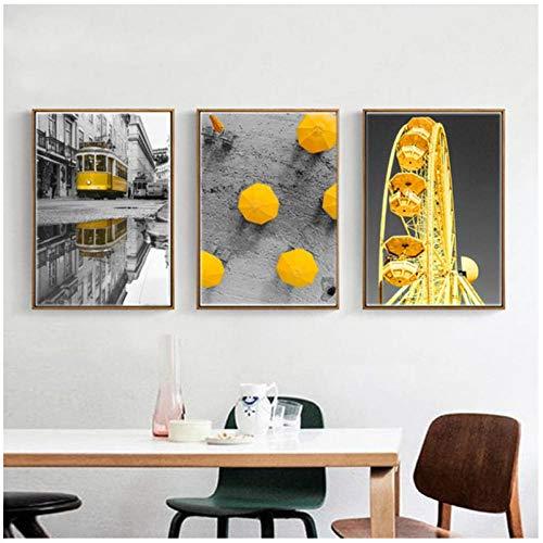 qiaoaoa 3 stücke Nordic Poster schwarz und weiß Stadtbild leinwand malerei, gelb riesenrad und Auto Kunst wandbilder für wohnkultur 50x70 cmx3 stücke kein Rahmen -