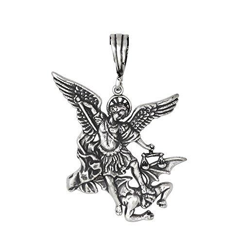 Archange saint michael'oxydé argent sterling 925 en forme de l moyen
