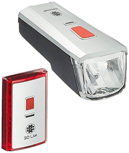 Büchel Batterieleuchtenset LED-AKKU Set-Leuchtturm Pro 40 Lux StVZO Zugelassen für alle Räder, Silber/Schwarz, 51125700 - 3