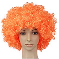 Doitsa 1 x Football Fan Clown Wig for Children Adult Hair Wigs Halloween Christmas Colourful Accessories for Masquerade Party Role Game Costume Hair Wig Curly Cosplay - Orange