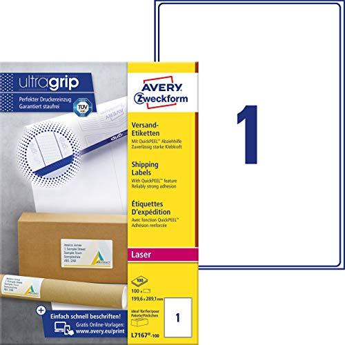 AVERY Zweckform L7167-100 Versandetiketten/Versandaufkleber (mit ultragrip, 199,6 x 289,1 mm auf DIN A4, bedruckbar, selbstklebend, für große Pakete, 100 Etiketten auf 100 Blatt) weiß