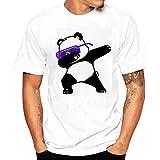 UOMOGO® Magliette,T-Shirt Uomo, Sportive, Polo Uomo Manica Corta, Camicia Casual in Cotone da Uomo, Panda (Asia 3XL, Bianca)