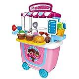 Beetest Eiswagen-Spielzeug, Nette bunte Kinder Simulation Barbecue Eisdiele Dresser Cart Pretend Spielzeug Set Playset Rollenspiel Spielzeug Kit Eiswagen Stil