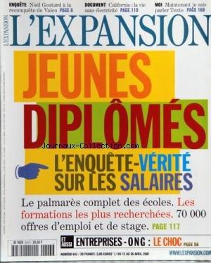 EXPANSION [No 643] du 12/04/2001 - JEUNES DIPLOMES - L'ENQUETE-VERITE SUR LES SALAIRES - NOEL GOUTARD A LA RECONQUETE DE VALEO - CALIFORNIE - LA VIE SANS ELECTRICITE - MAINTENANT JE SAIS PARLER TEXTO - ENTREPRISES - ONG - LE CHOC