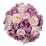 YQing 1 Pacco Finti Fiori Rosa Bouquet, Sposa Bouquet Fiori Artificiali con 9 Fiori Teste, Bouquet Rose Fiori Finti per Decorazioni di Nozze Partito Giardino Domestico