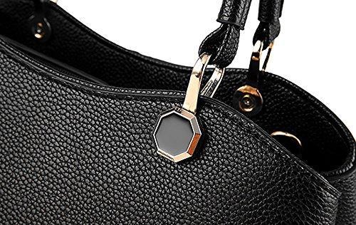 CLOTHES- Borsa della borsa della borsa di temperamento Versione coreana del nuovo pacchetto Personalità Moda Borsa semplice della borsa del messaggero della spalla ( Colore : Viola scuro ) Nero