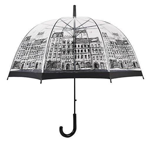 Paraguas Transparente en Forma de Cúpula, Mango Largo Auto Open Lluvia Paraguas Para Las Mujeres y Los Niños