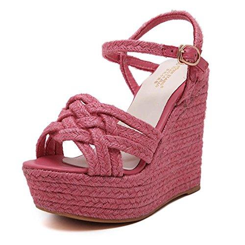 LvYuan Frauen Sommer Sandalen / Sexy Ultra High Heel / Wasserdichte Plattform / Stroh Flechten / Wedge Ferse / Gürtelschnalle / Office & Karriere / römische Schuhe rose red
