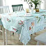 JITIAN Waterproof Table Cloth Rectangular Polyester TV Cabinet Table Cover Pastoral Wipe Clean Tablecloths for Home Kitchen