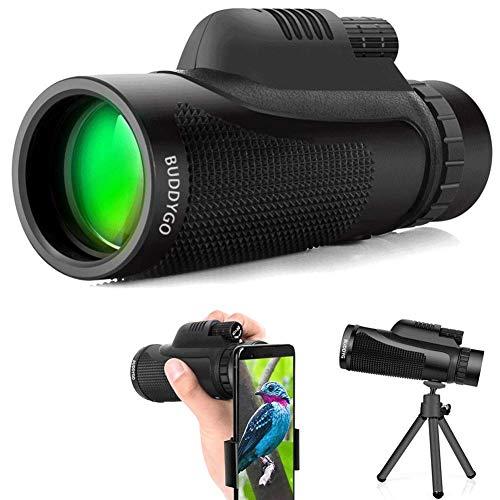Telescopio Monocular, BUDDYGO 40x60 HD Spotting Scope Catalejo Monoculares con BAK-4 Prisma e Lente Multi-Revestido, Ideal para Senderismo, Camping, Caza, Concierto, Observación de Las Aves
