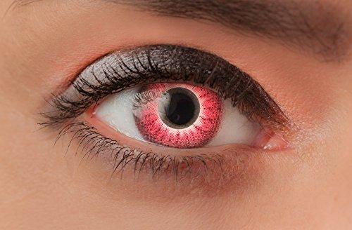 Weiche farbige Kontaktlinsen Funlinsen mit Motiv ohne Stärke für Halloween Fasching Party Kostüm und den Alltag (1 Paar (2Linsen), 24 - Red (Red Wolf Kostüm Kontaktlinsen)