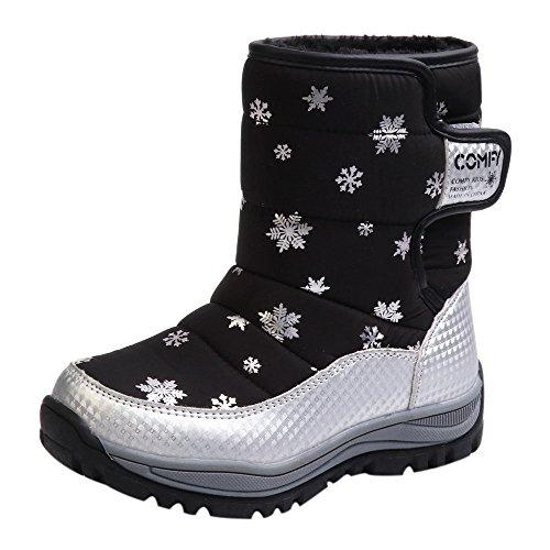 Fenverk Kinder Schnee Stiefel Schuhe Winter Mode Studenten Turnschuhe Jungs MäDchen Wasserdicht Thermal Gummistiefel Pelz Unisex Aufregung(Schwarz,30 EU)