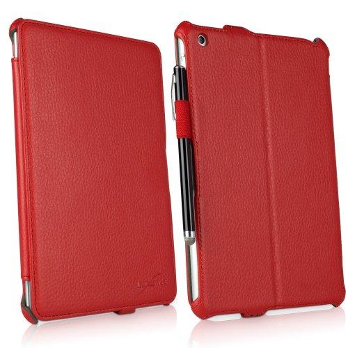 BoxWave Apple iPad mini mit Retina und iPad Mini 1. Gen. Leder Book Jacket Schutzhülle-Schutzhülle Premium Qualität Slim Vegan Leder Book Case Cover mit verstellbare integrierte Standfunktion (Ardent rot) (Ipad Mini Retina Case-portfolio)