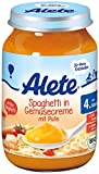 Alete Spaghetti in Gemüsecreme mit Pute, 6er Pack (6 x 190 g)