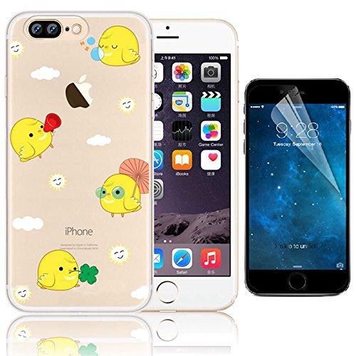 iPhone 7 Plus Case , Bonice iPhone 7 Plus Cover,Bonice Colorato Ultra Thin Morbido TPU Silicone Rubber Clear Trasparente Back Creativo Case –pulcino 02 model 14
