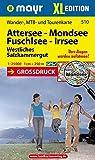 Attersee - Mondsee - Fuschlsee - Irrsee XL: Wander-, MTB- und Tourenkarte 1:25000 GPS-genau (Mayr Wanderkarten)