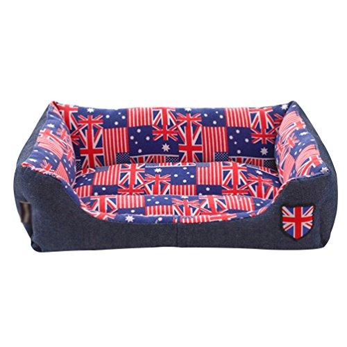 Lvrao cuccia per animali lavabile casette per cani, gatti rettangolare divano, letto dell'animale domestico (bandiera, 45 * 40 * 12cm)