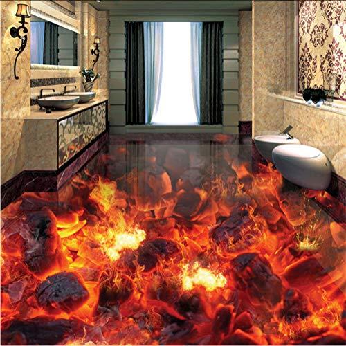 Syssyj Benutzerdefinierte Mural Tapete Moderne Feuer Flamme 3D Bodenfliesen Aufkleber Wohnzimmer Pvc Wasserdichte Tragen 3D Bodenbelag Tapete Rolle-350X250CM