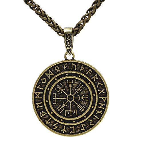 HLARK Colgante de Collar Vikingo con Runas Vegvisir Amuleto Céltico Joyería para Hombre (#2)