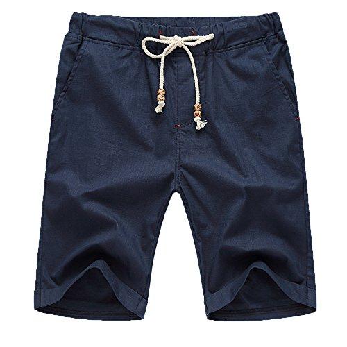 YULAND Herren Shorts, Bekleidung Männer Sommer Leinen Baumwolle Solid Beach Casual Elastische Taille Klassische Fit Shorts (4XL, Marine)