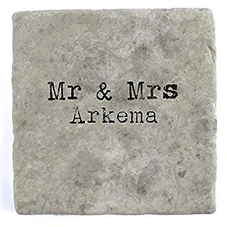 Mr & Mrs Arkema - Single Marble Tile Drink Coaster