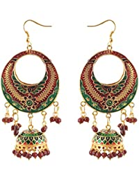 Zephyrr Fashion Lightweight Chandbali Hook Earrings With Meenakari And Beads Jewellery For Girls And Women