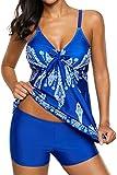 Socluer Damen 2 Piece Tankini Set Strap Print Badeanzug Tank Top Bikini Swimsuits mit Short (3XL(DE 44/46), Hell Blau)