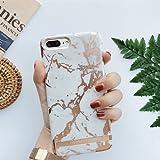 UEEBAI Coque pour iPhone 6 Plus 6S Plus, Personnalité élégante Marbre Design Motif Estampage Or [Ultra Mince] Léger Anti-Rayures Protection Premium PC Dur Retour Housse Etui - Blanc