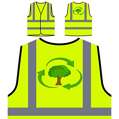 Recyceln Sie Baum Eco Life Green Novelty Funny Personalisierte High Visibility Gelbe Sicherheitsjacke Weste a921v (High Green Visibility)