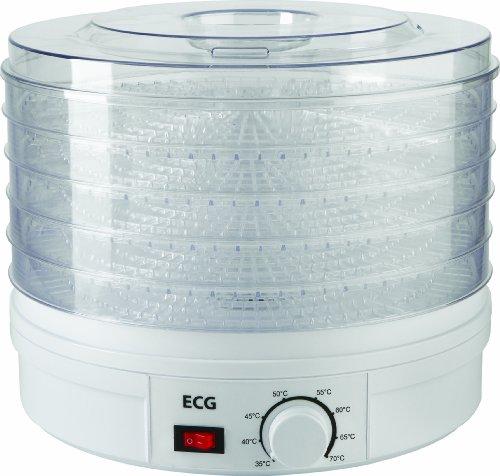 ECG SO 375 250 W zum Trocknen von Obst, Gemüse, Kräutern, Fleisch und sonstigen Lebensmitteln, samt fünf Fächer 32 cm, laufende Temperaturkontrolle 35-70 Grad Celcius, Überhitzungsschutz