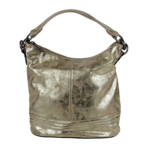 yourlifeyourstyle Space Style Umhängetasche glänzende Metallfarben - Maße 30x24x17 cm (ohne Schulterriemen) - Damen Mädchen Teenager Tasche (gold-metallic)