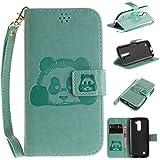 Cozy Hut LG K10 Bookstyle Étui Green panda national trésor Housse en Cuir Case à rabat pour LG K10 Coque de protection Portefeuille TPU Case - green Giant Panda