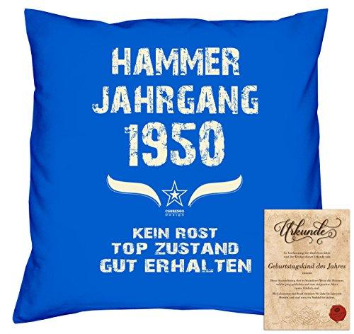 tag Deko-Kissen Sofakissen Dekokissen Jahreszahl Aufdruck Hammer Jahrgang 1950 :-: Größe: 40x40cm und Urkunde Farbe: royal-blau (1950 Deko-ideen)