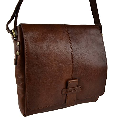 Rowallan of Scotland, Borsa a tracolla donna nero medium Cognac