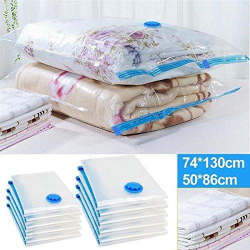 Yahee 10 sacchetti sottovuoto salvaspazio per abiti piumoni cuscini, 74cm x 130cm(5 pz), 50cm x 86cm(5 pz)