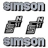Set: Aufkleber - Klebefolie SIMSON S51 N - Silber auf Weiß für Tank und Seitendeckel + BISOMO® Sticker