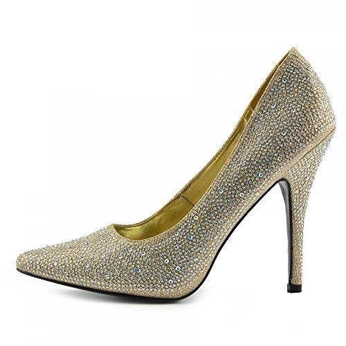 Damen Herren HIGH Stiletto Heel FETISCH AUSGEHEN Pumps GRÖßEN 41-46 - UK9 / EU43, Gold (Fetisch Heel Stiletto)