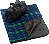 "CozyCoverz Waterproof Stadium Blanket 50"" x 60"" (Blue/Green Plaid),50"" x 60"""