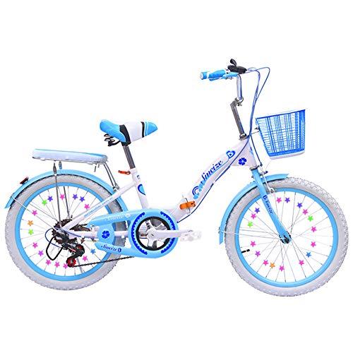 20 Zoll Kinderfahrrad Ab 8 Jahren Mädchenfahrrad Kinderrad Mountainbike Jungen-Fahrrad Klapprad Faltrad Klappfahrrad Mit Fahrradständer Sitz Und Griff Verstellbar,Blue,18inches