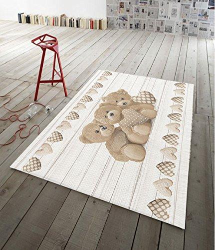 Tappeto arredo cameretta antiscivolo stampa digitale orsi lavabile made in italy - beige - 70x120 cm