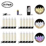 Jingrong 20er LED Kerzen mit Fernbedienung und Batterien Flammenlose Weihnachtskerzen für Weihnachtsbaum, Weihnachtsdeko, geeignet auch für Hochzeit, Geburtstags, Party (Batterie enthalten)