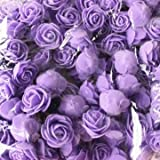 50pcs 2.5cm Artificial Roses PE Foam Simulation Rose Flower Wedding Party Home Decoration (PurPle)